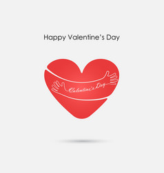 red heart sign and happy valentines day vector image
