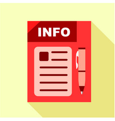 Red info board icon flat style vector
