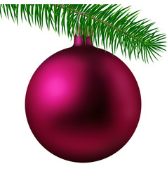 Rose matte christmas ball or bauble and fir branch vector