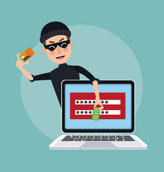 scene color laptop with password window and thief vector image
