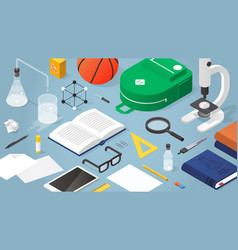 school supplies isometric vector image