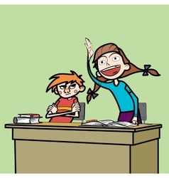 Schoolboy and schoolgirl in the classroom vector image