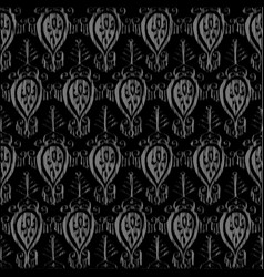Seamless ikat pattern grey vector