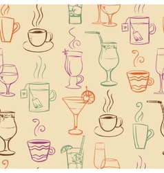 Seamless pattern with drinks vector image vector image