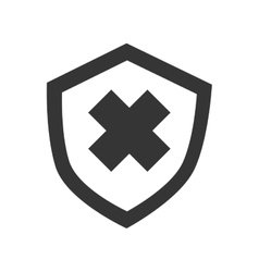 Security badge cross icon vector