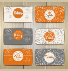 Set of retro bakery banners or cards of bakery vector