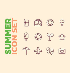 Set summer beach icons cocktail icons sun ice vector