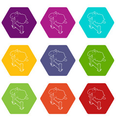 sheep jumping over barrier icons set 9 vector image