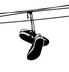 Shoe tossing sneakers on power lines vector