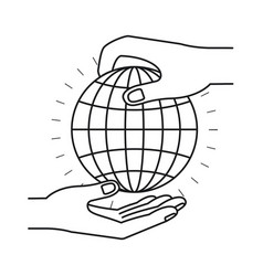 Silhouette side view of palm human holding a globe vector