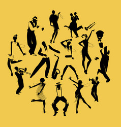 silhouettes of dancers dancing charleston and vector image