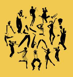 Silhouettes of dancers dancing charleston vector