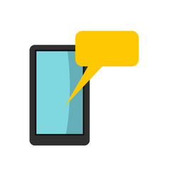 Smartphone with bubble speech icon flat style vector