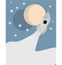 Space rocket with moon scene vector