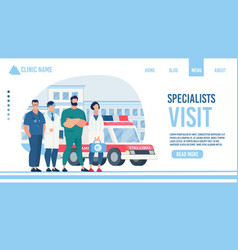 Specialist visit service clinic flat landing page vector