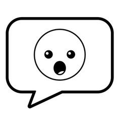speech bubble and surprised emoticon vector image