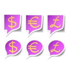 speech bubbles with symbol money vector image vector image