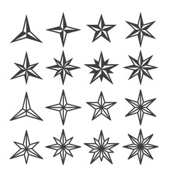 star wind roses icon set vector image