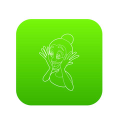 Surprised woman icon green vector