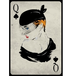 The girl in retro style Playing card vector