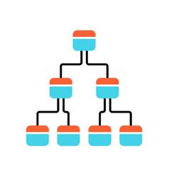 Tree diagram color icon hierarchical system node vector