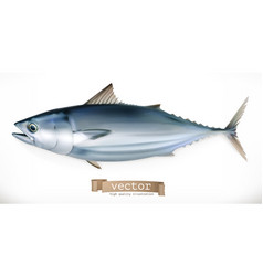 Tuna fish 3d icon seafood realism style vector