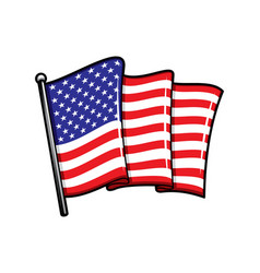 usa flag on flagpole isolated icon vector image