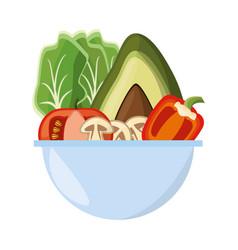 vegetables salad bowl vector image