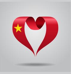vietnamese flag heart-shaped ribbon vector image