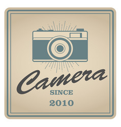 vintage emblem of retro photo camera vector image