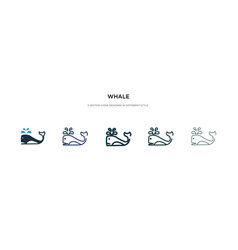 Whale icon in different style two colored and vector