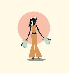 Woman shopping paper handbags retro style vector