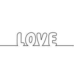 Word love text one line drawing cartoon vector