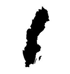 black silhouette country borders map of sweden on vector image