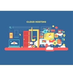 Cloud hosting design vector image vector image