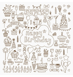 Hand drawn Birthday elements Set of birthday party vector image vector image