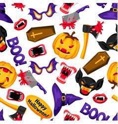 happy halloween seamless pattern with cartoon vector image