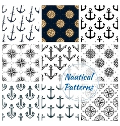Nautical heraldic navy seamless patterns set vector image vector image