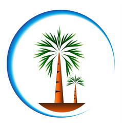 palm trees icon cartoon vector image