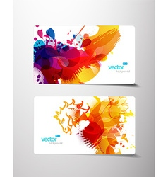 Set of abstract colorful splash gift cards vector image