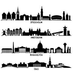 silhouette stockholm amsterdam washington oslo vector image vector image