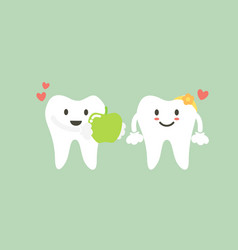 tooth boy give fresh green apple to girl vector image vector image