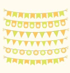Bunting set patel green and orange scrapbook vector image