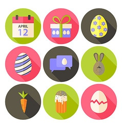 Easter flat styled circle icon set 5 with long vector image