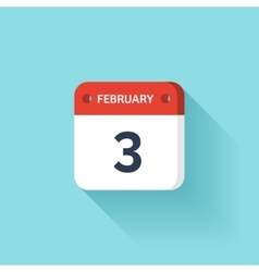 February 3 Isometric Calendar Icon With Shadow vector image
