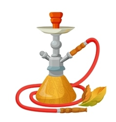 Hookah calabash with one long red pipe isolated on vector image