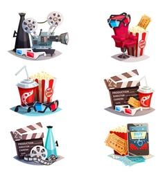 Set Of 3d Cartoon Cinema Design Concepts vector image vector image