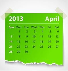 2013 calendar april colorful torn paper vector image