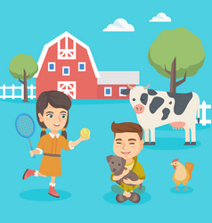 caucasian active children playing in the backyard vector image