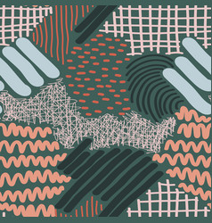 complex hand drawn stripes and dots vector image vector image
